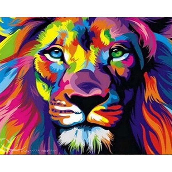 Diamond Painting Gekleurde Leeuw
